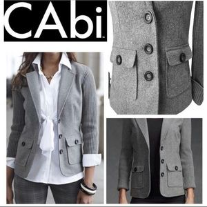 CAbi Wool Blend Blazer Ribbed Knit Back Jacket